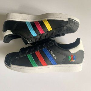 New Adidas Superstar J Colorful Striples Core Blac